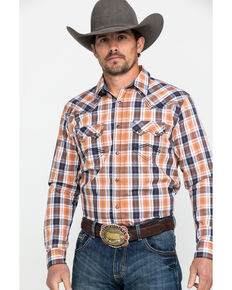 Cody James Men's Axe Line Plaid Long Sleeve Western Shirt , Orange, hi-res