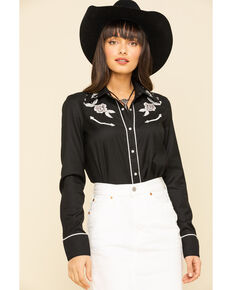Roper Women's Black White Rose Embroidered Rodeo Long Sleeve Shirt , Black, hi-res