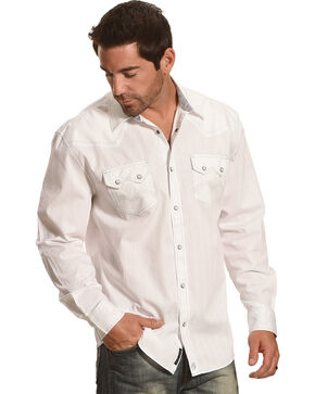 Moonshine Spirit® Men's Stripe Embroidered Long Sleeve Shirt, White, hi-res