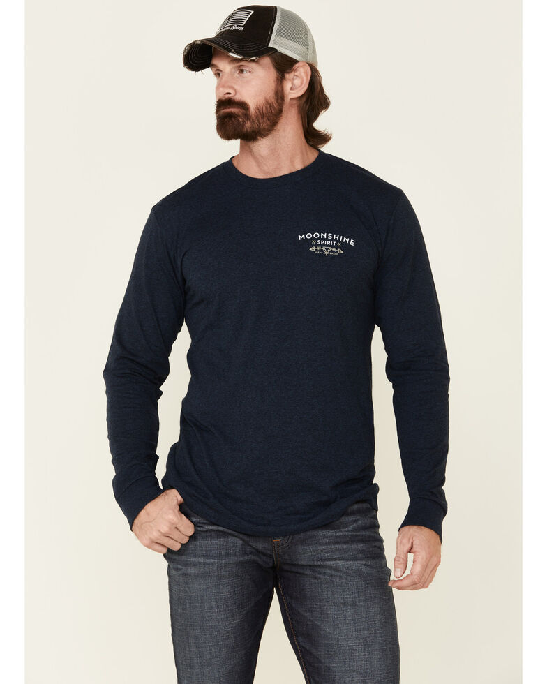 Moonshine Spirit Men's Navy Mountain Graphic Long Sleeve T-Shirt , Navy, hi-res