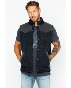 Moonshine Spirit Men's Solid Truckee Quilted Snap Vest  , Black, hi-res