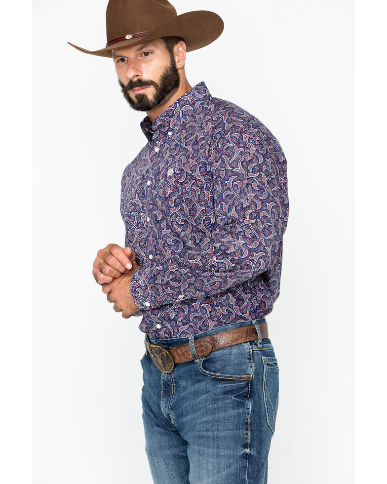8ed9946e Zoomed Image Cinch Men's Navy Paisley Long Sleeve Button Down Western Shirt,  Navy, hi-res