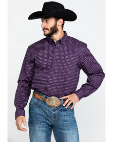 Cody James Core Men's Diamond Falls Geo Print Long Sleeve Western Shirt , Purple, hi-res