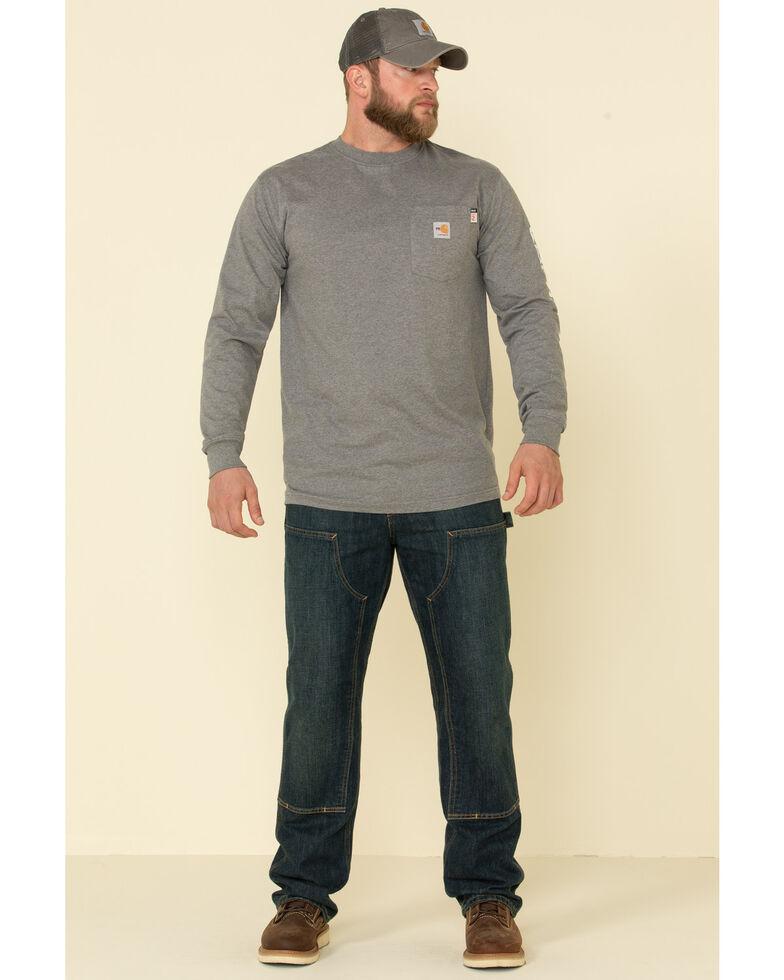Carhartt Men's Granite M-FR Midweight Signature Logo Long Sleeve Work Shirt - Big , , hi-res