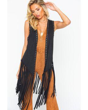 Wrangler Women's Black Faux Suede Fringe Hem Vest, Black, hi-res
