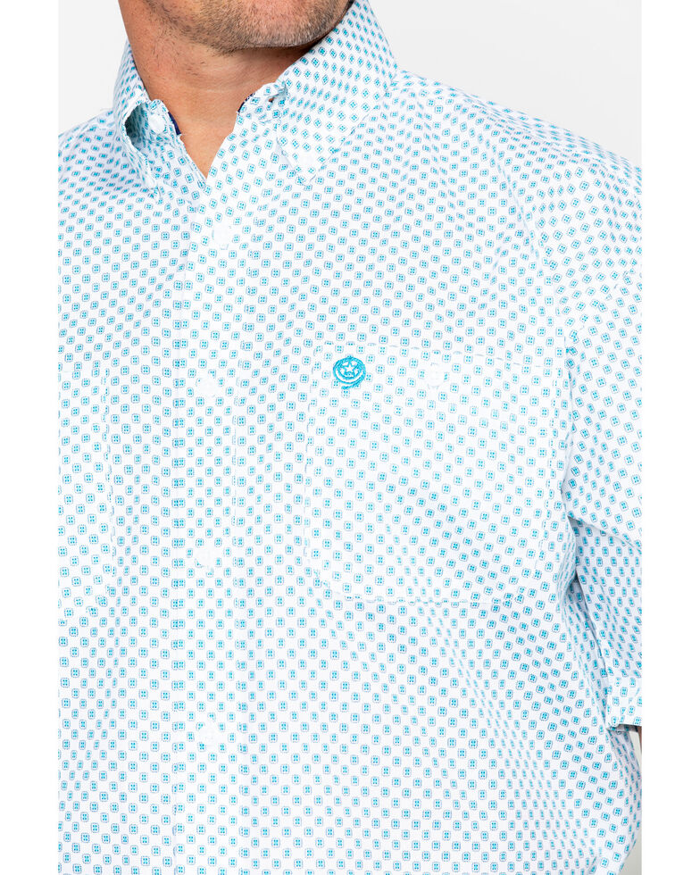 George Strait by Wrangler Men's Turquoise Short Sleeve Western Shirt, Turquoise, hi-res