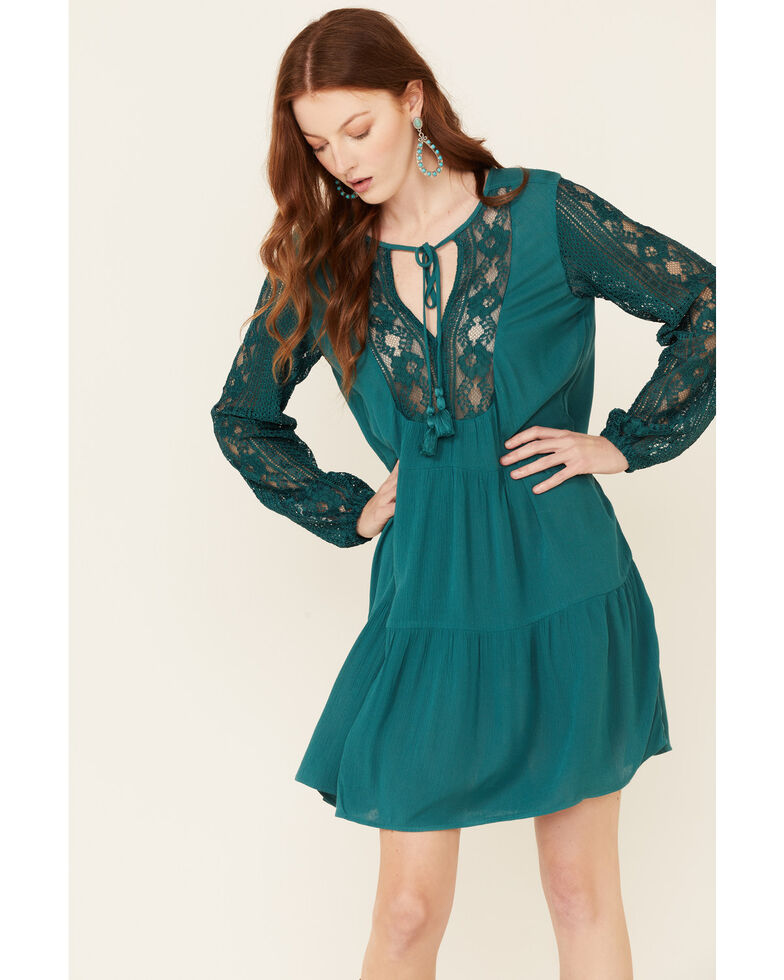Wrangler Women's Teal Tiered Crochet Dress, Teal, hi-res