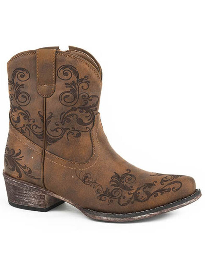 Roper Women's Cognac Faux Leather Western Boots - Round Toe, Tan, hi-res