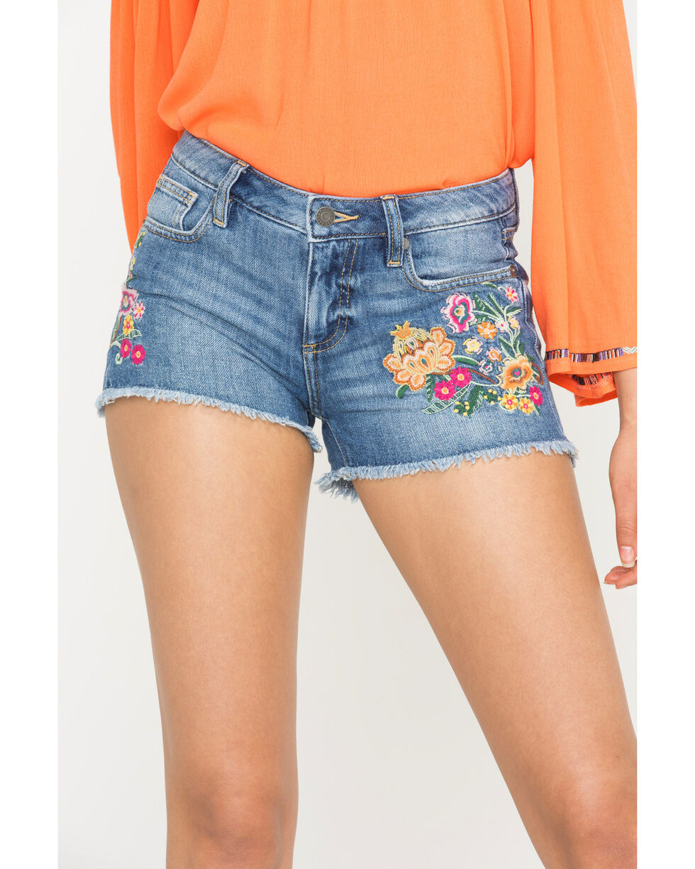Miss Me Women's Flower Embroidered Denim Shorts , Blue, hi-res
