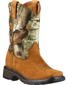Ariat Children's WorkHog Boots - Square Toe, Bark, hi-res