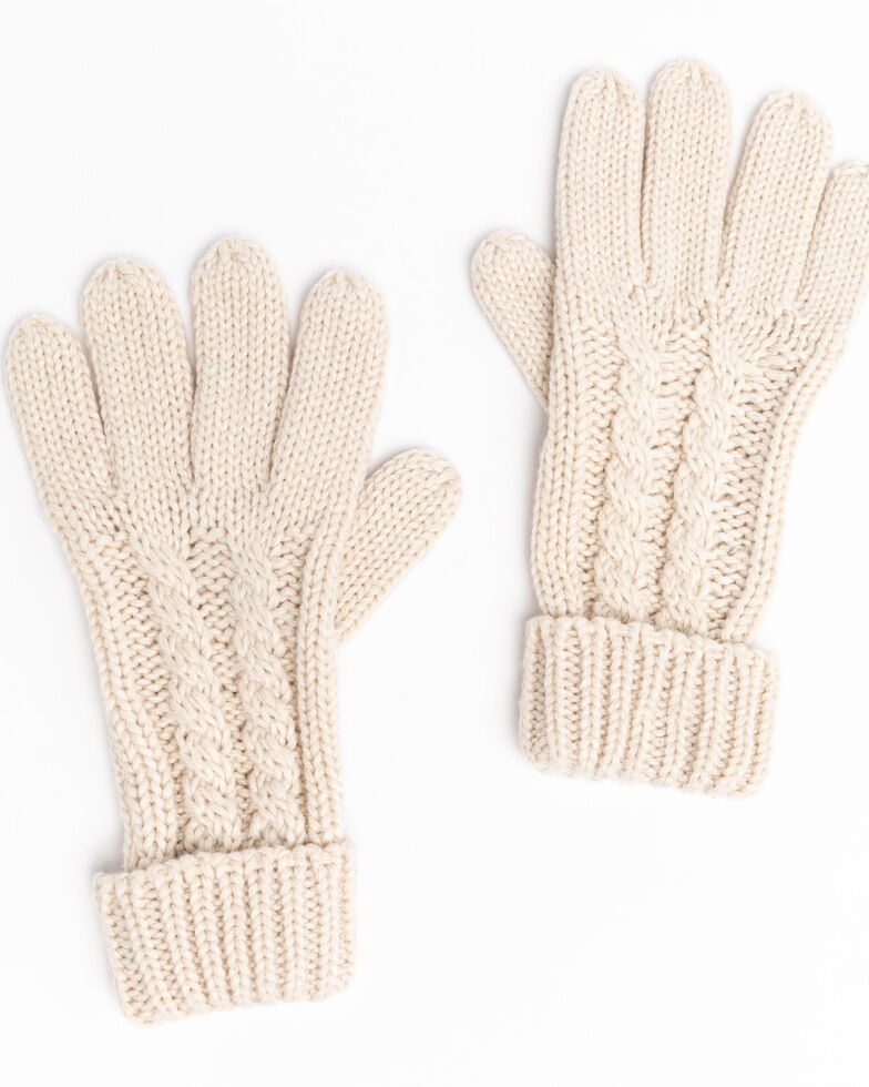 Shyanne Women's Cream Chunky Knit Gloves , Cream, hi-res