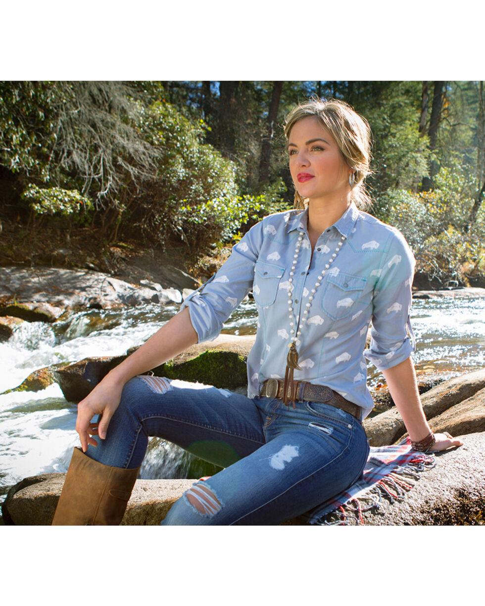 Ryan Michael Women's Buffalo Print Shirt , Light/pastel Blue, hi-res