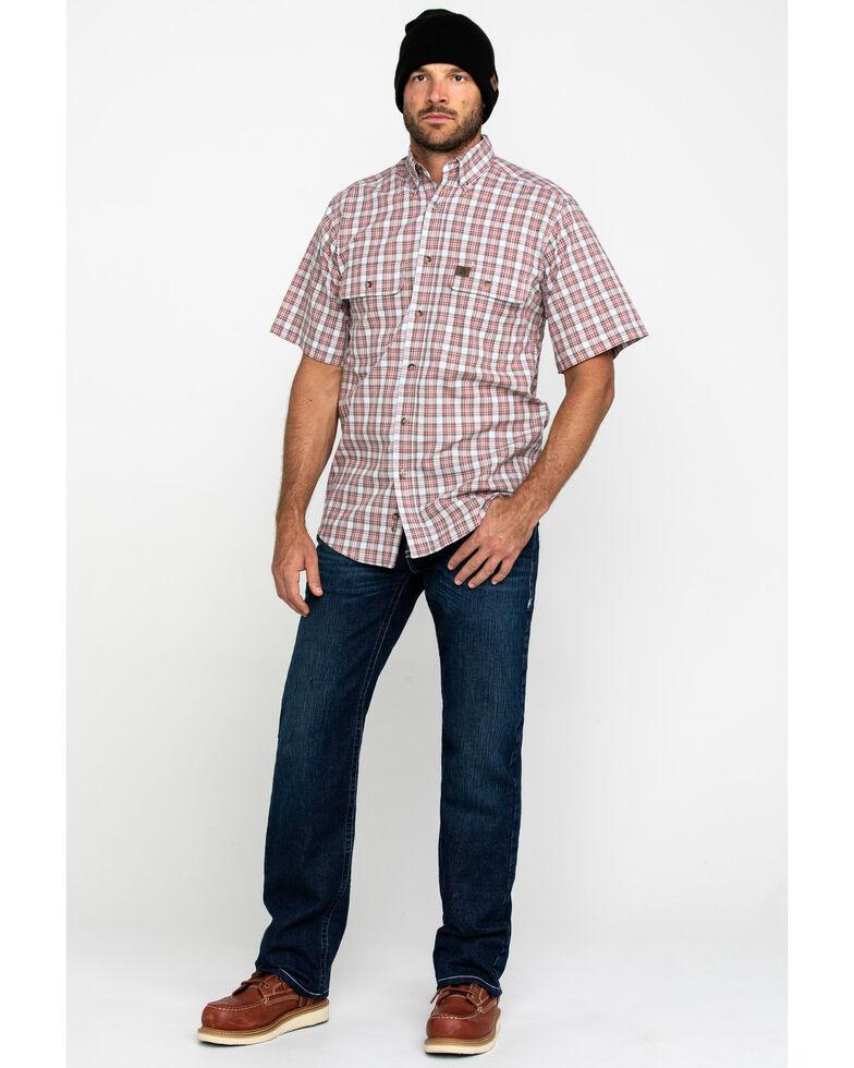 Wrangler Riggs Men's Rust Plaid Short Sleeve Work Shirt , White, hi-res