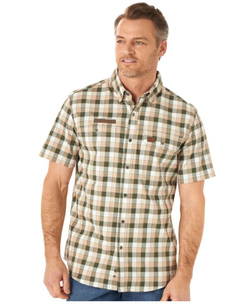 Wrangler Riggs Men's Olive Small Plaid Vented Short Sleeve Button-Down Work Shirt - Tall, Olive, hi-res