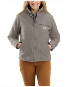 Carhartt Women's Taupe Washed Duck Sherpa-Lined Jacket , Taupe, hi-res
