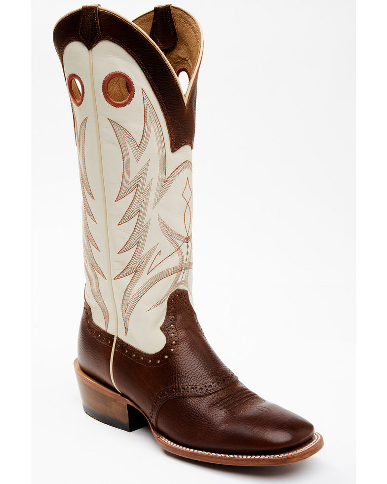 Cody James Men's Buckaroo Bone Western Boots - Wide Square Toe, Cream, hi-res