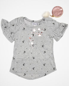 Shyanne Girls' Print Ruffle Sleeve Tee - Necklace & Purse, Grey, hi-res