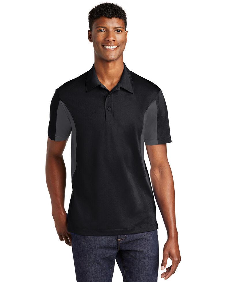 Sport Tek Men's Black & Iron Grey 2X Side Color Blocked Sport Wick Short Sleeve Polo Work Shirt - Big, Multi, hi-res