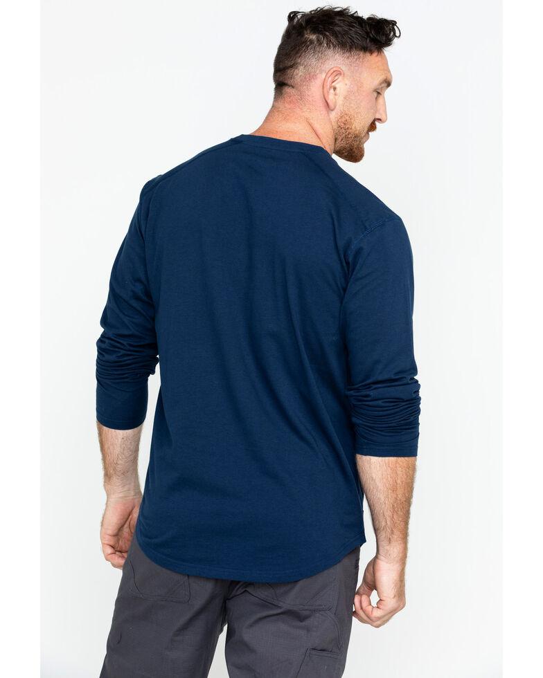 Hawx Men's Solid Pocket Crew Long Sleeve Work T-Shirt , Navy, hi-res