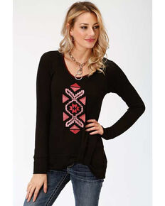 Studio West Women's Native Arts Embroidered Sweater, Black, hi-res
