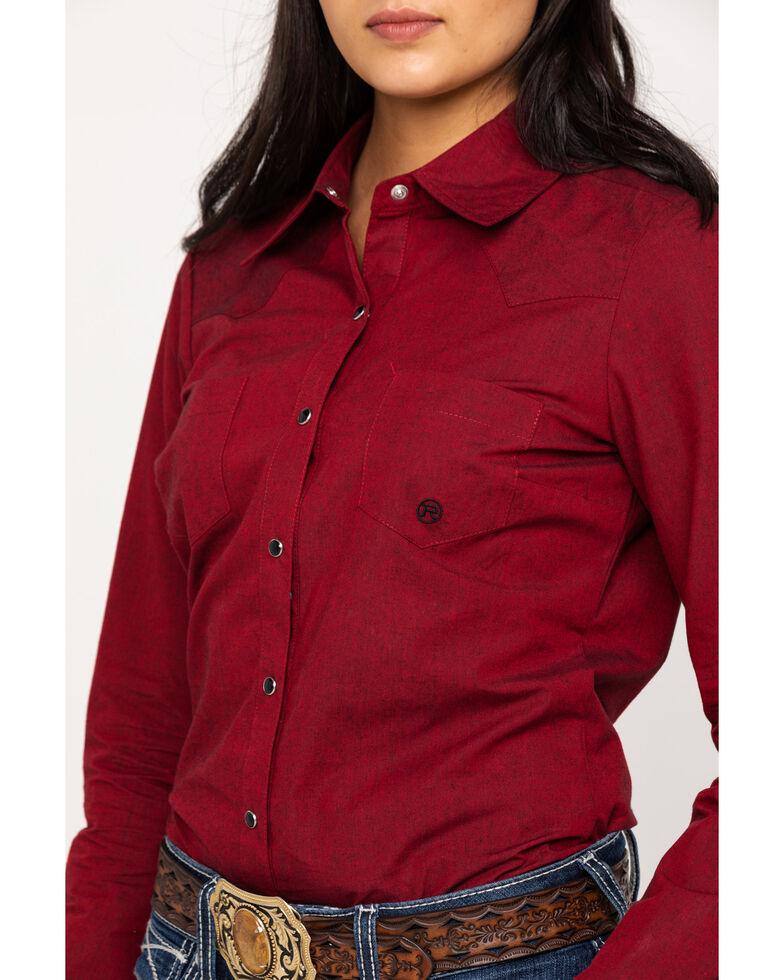 Roper Women's Cross Dye Solid Snap Long Sleeve Western Shirt, Red, hi-res