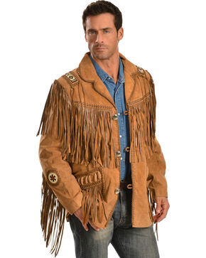 Scully Men's Hand Laced Bead Trim Coat, Buck Tan, hi-res