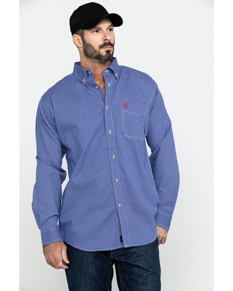 Ariat Men's FR Cobalt Print Liberty Long Sleeve Work Shirt - Big , Blue, hi-res