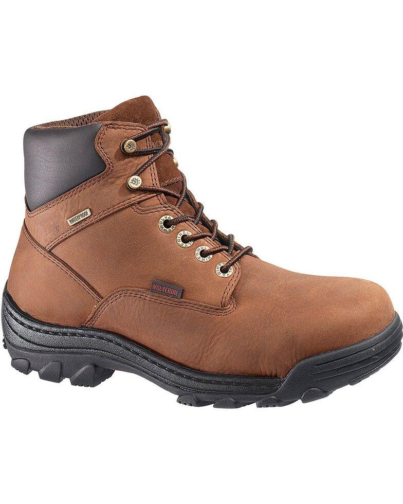"""Wolverine Men's Durbin 6"""" Waterproof Steel Toe EH Work Boots, Brown, hi-res"""