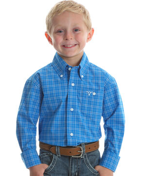 Wrangler 20X Boys' Blue Plaid Advanced Comfort Long Sleeve Western Shirt , Blue, hi-res
