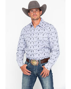 Rock & Roll Cowboy Men's Longhorn Skull Print Long Sleeve Western Shirt , Grey, hi-res