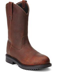 Ariat Men's RigTek Pull-On H2O CT Work Boots, Brown, hi-res