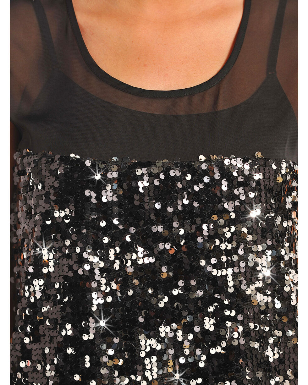 Rock & Roll Cowgirl Women's Black Sequin Georgette Tank Top , , hi-res