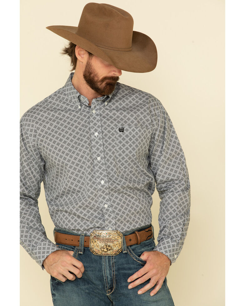 Cinch Men's White Geo Print Cotton Weave Long Sleeve Western Shirt , White, hi-res