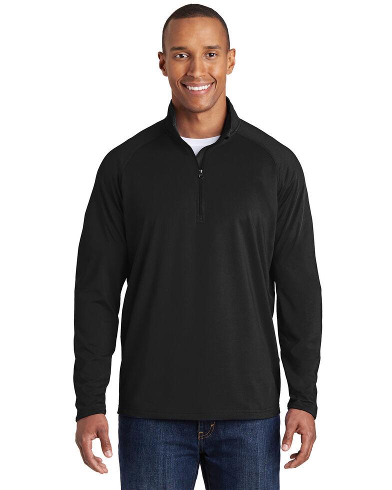 Sport Tek Men's Black Sport Wick Stretch 1/2 Zip Pullover Work Sweatshirt , Black, hi-res