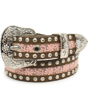 Ariat Girls' Floral Lace Studded Belt, Pink, hi-res