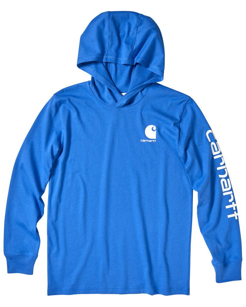 Carhartt Boys' Blue Sleeve Graphic Hooded Sweatshirt , Blue, hi-res