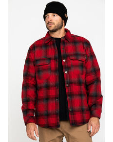 Hawx® Men's Red Miller Plaid Flannel Quilted Shirt Work Jacket , Red, hi-res