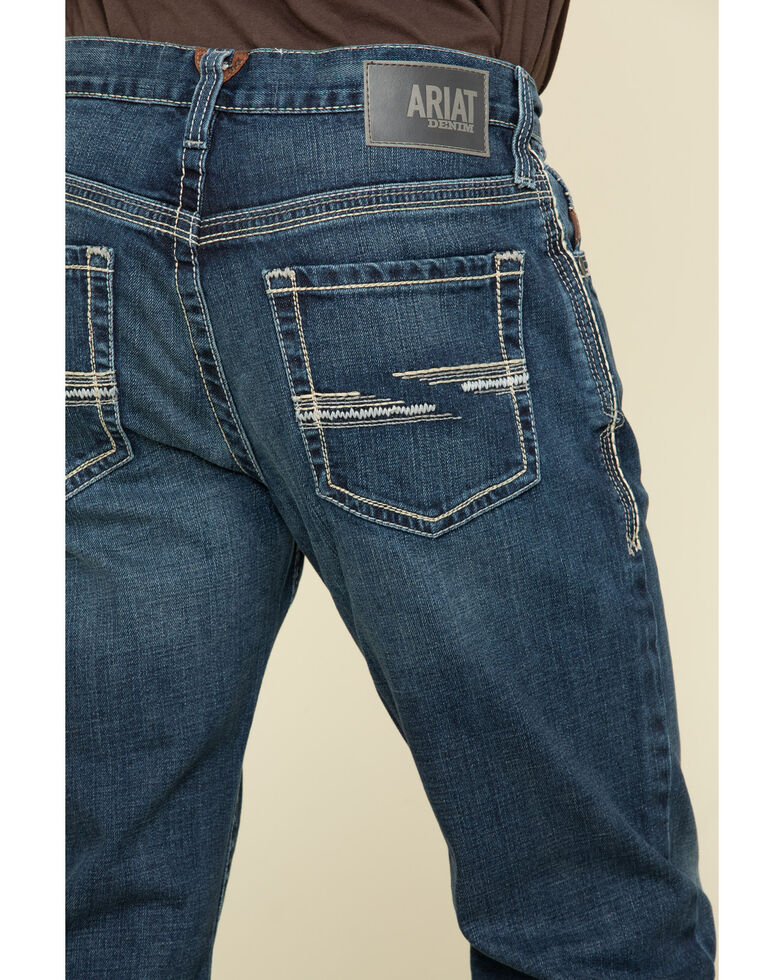 Ariat Men's M4 Denali Dark Stretch Low Relaxed Bootcut Jeans - Big , Blue, hi-res