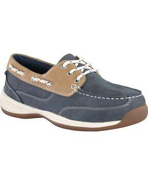 Rockport Works Women's Sailing Club Boat Shoes - Steel Toe, Blue, hi-res