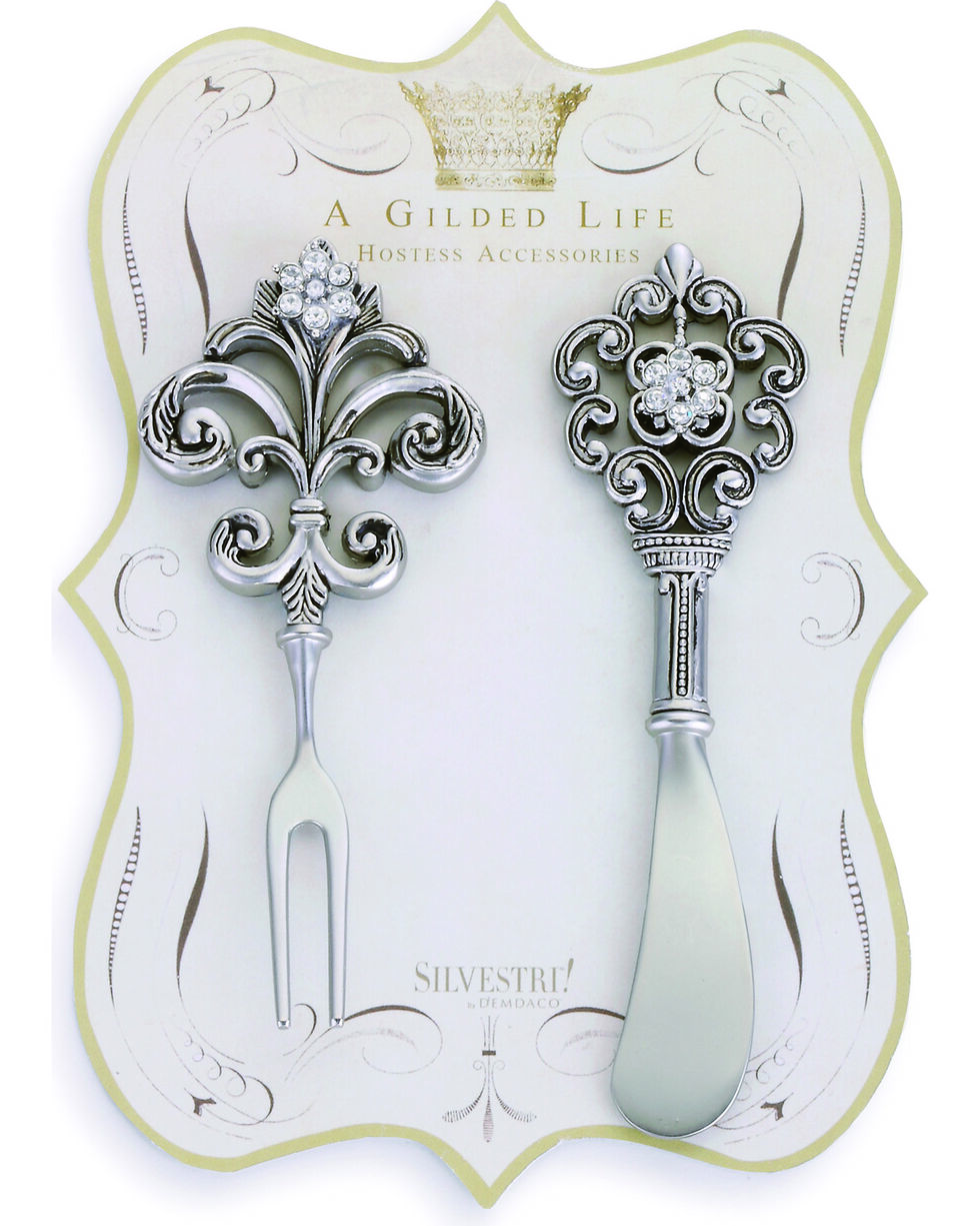 Demdaco Silver Embellished Appetizer Utensils - Set of 2 , Silver, hi-res