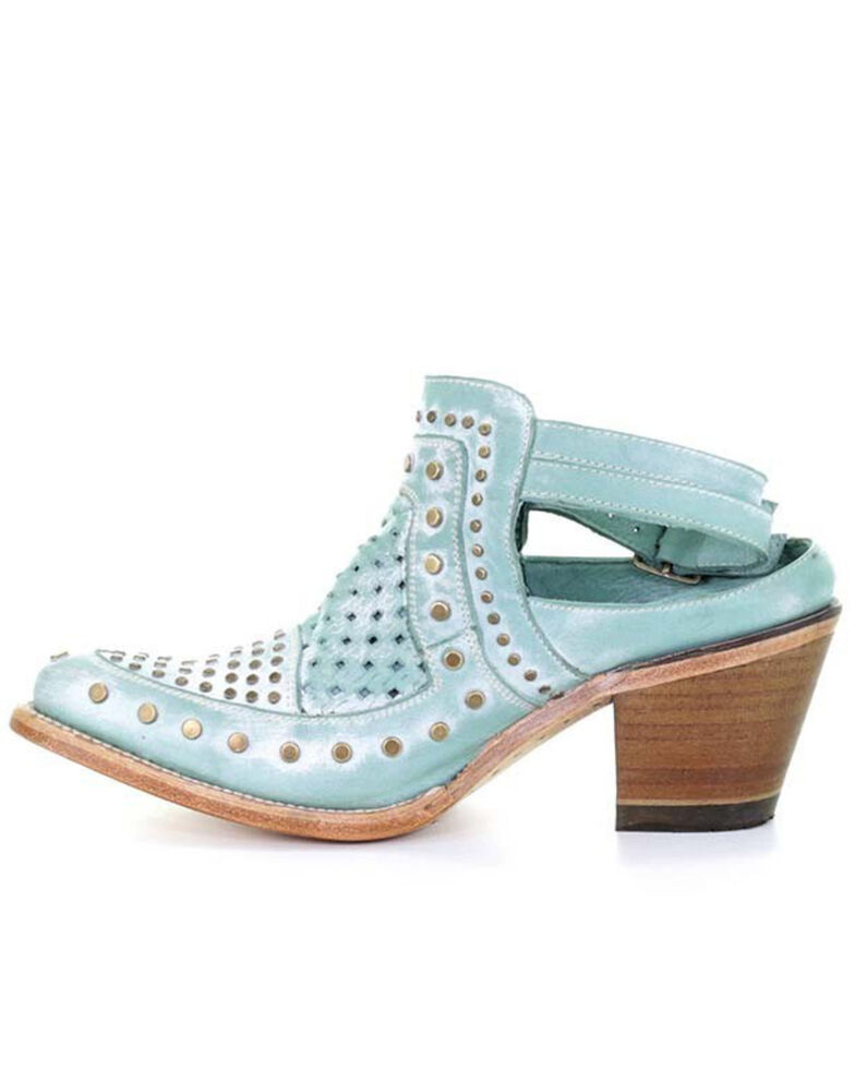 Corral Women's Turquoise Stud & Woven Mules - Snip Toe, , hi-res