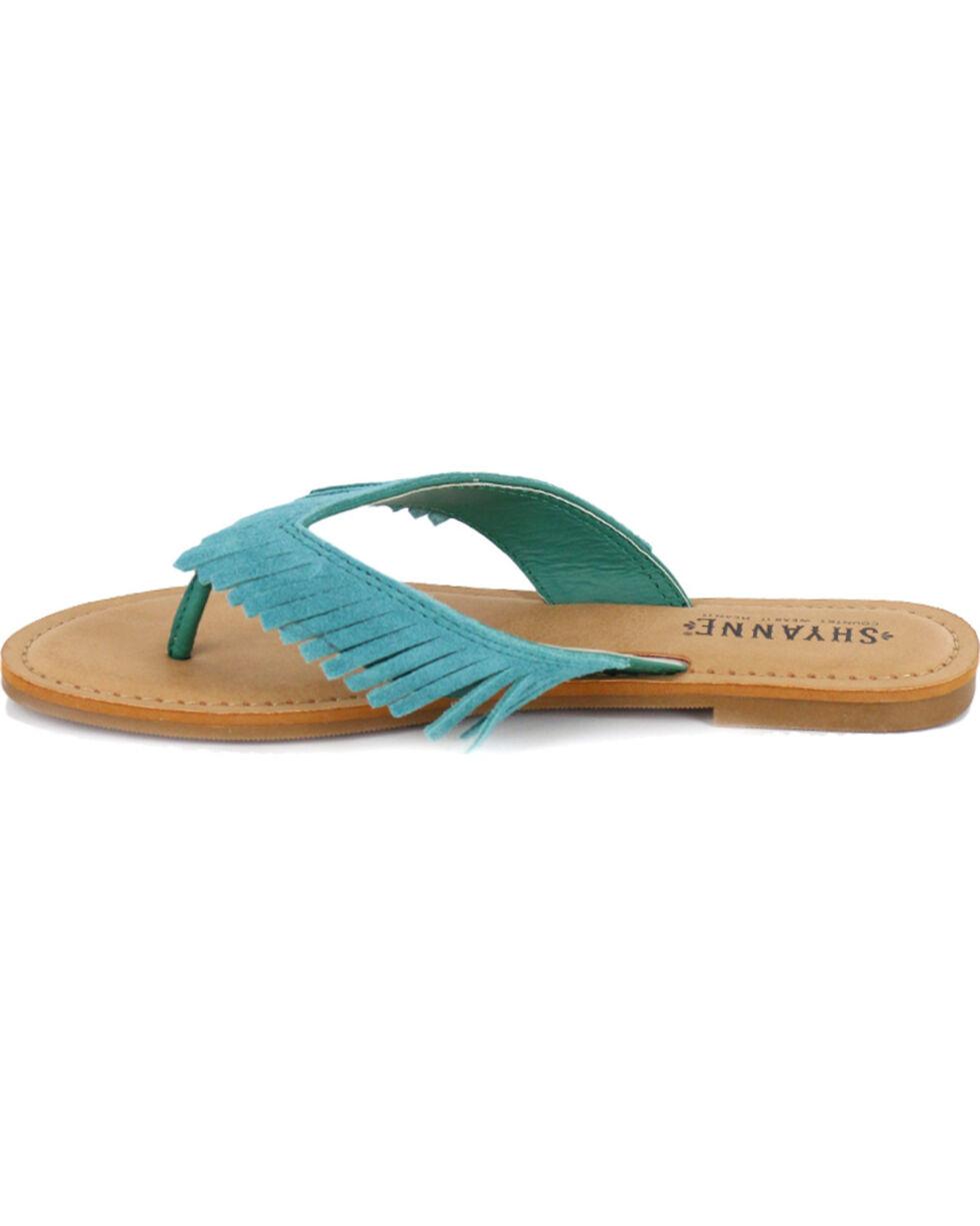 Shyanne® Women's Suede Fringe Sandals, Turquoise, hi-res