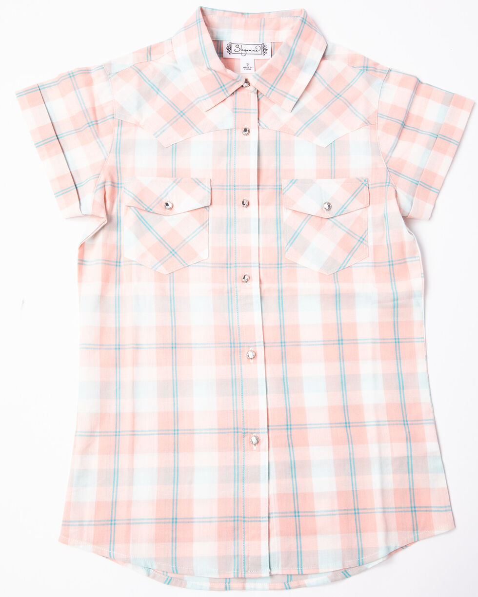Shyanne Girls' Washed Plaid Button Down Short Sleeve Shirt, Ivory, hi-res