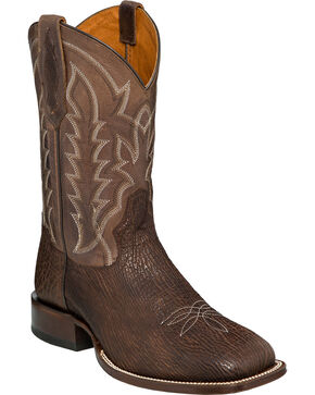 Tony Lama Men's Chocolate Oiled Shark Cowboy Boots - Square Toe, Chocolate, hi-res
