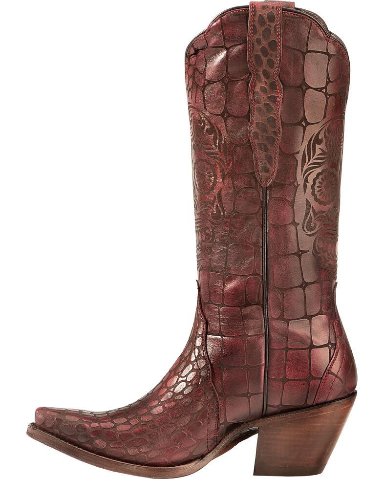 Ariat Red Croc Print Katrina Cowgirl Boots - Snip Toe , Red, hi-res