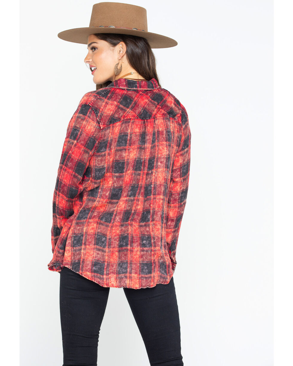 Mystree Women's Washed Plaid Tunic Top , Red, hi-res