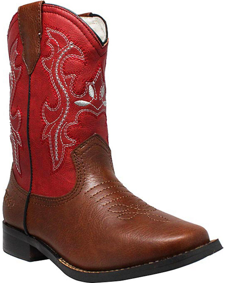 "Ad Tec Children's 8"" Pull On Western Boots, Brown, hi-res"