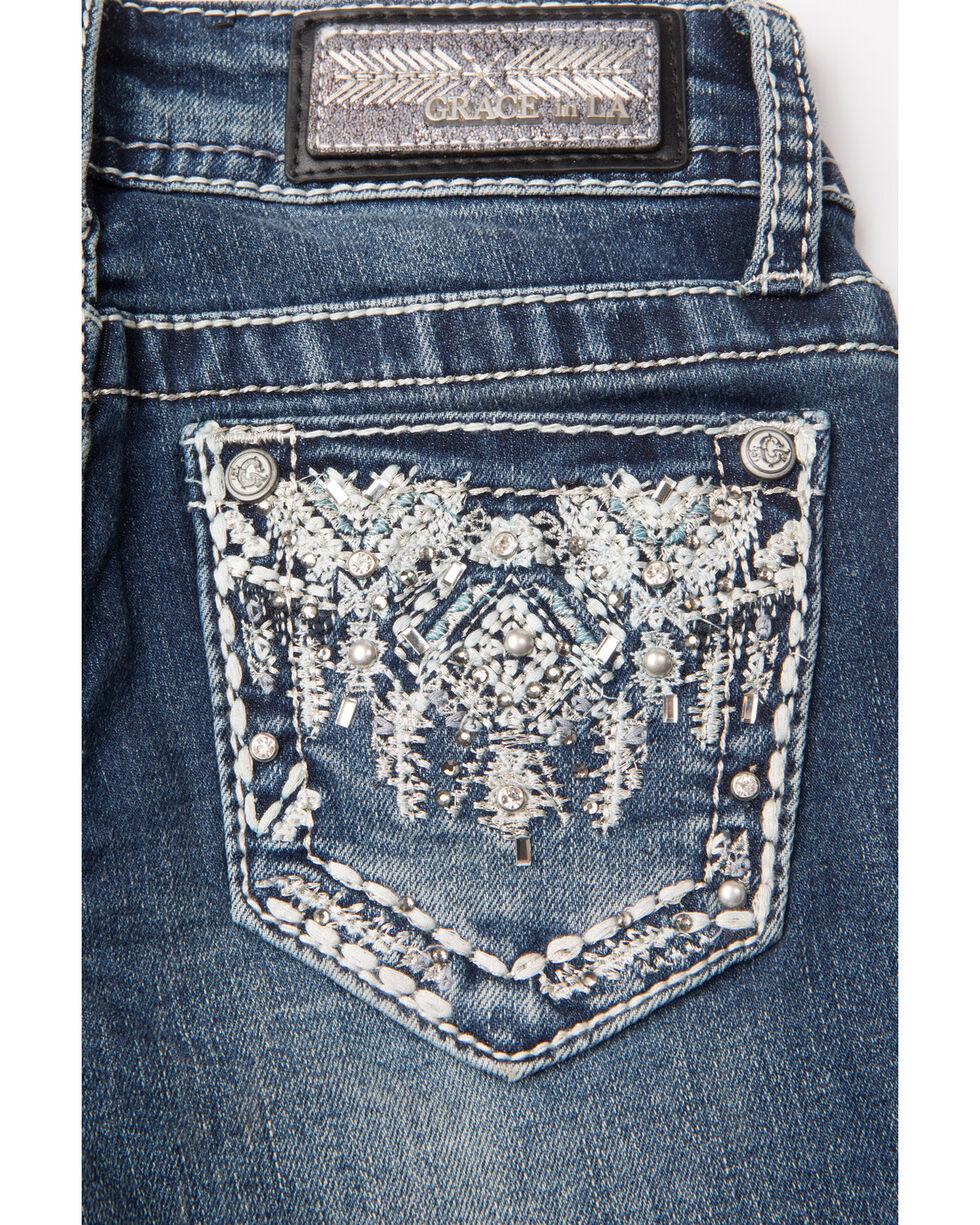 Grace In LA Girls' White Embroidered Pocket Boot Jeans , Indigo, hi-res