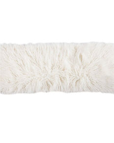 HiEnd Accents Mongolian Faux Fur Pillow, White, hi-res