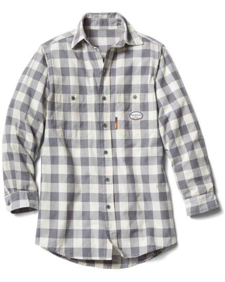 Rasco Men's Flame Resistant White Buffalo Plaid Long Sleeve Work Shirt , White, hi-res
